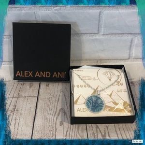 ALEX AND ANI Sterling Silver Blue Lotus Necklace